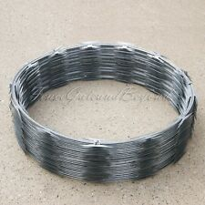 """RAZOR / HELICAL BARBED WIRE GALVANIZED STEEL 18"""" 1 COIL 50 FEET COVERAGE"""