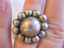 EARLY ANTIQUE VINTAGE MEXICAN BUBBLE DAISY FLOWER STERLING SILVER ORB RING SZ 5