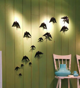 4x Hand painted Portuguese Ceramic Decorative Wall Hanging Swallows nature love