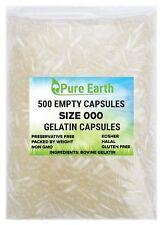 500 Empty Gelatin Capsules Size 000 Kosher Gel Caps High Quality #000 Non GMO