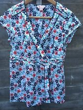 Monsoon Floral Cotton Blouse Size 12 Wrap Front