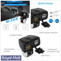 12V Motorcycle Dual USB 2.1+2.1A Charger w/LED Digital Voltmeter & Location Chip