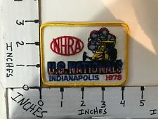 """EMBROIDERED 1978 NHRA  U.S. NATIONALS INDIANAPOLIS JACKET PATCH 3"""" X 4"""""""