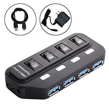 US Plug USB 3.0 Hub 4 Port On/Off Switches+ AC Power Adapter Cable for PC Laptop