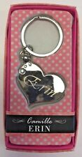 ERIN Camille heart silver color personalized KEYCHAIN BRAND NEW IN PACKAGE