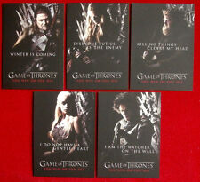 "GAME OF THRONES - ""You Win Or You Die"" CHASE SET (ALL 5 CARDS) Rittenhouse 2012"