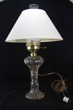 Antique Electrified Oil Lamp on a Beautiful Crystal Pedestal