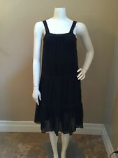 Pure DKNY 100% Silk Black Tiered Lined Sundress w/ Crochet Lace Trim Sz 2