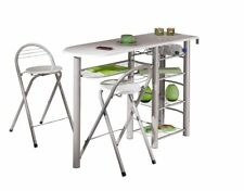 3-tlg. Küchenbar Set Küchentheke 2 Barstühle Hochglanz weiß 4 Fächer L-Freida