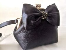 $169 NEW Kate Spade Posie Manor Place Black Leather Bow Kisslock Clutch Bag