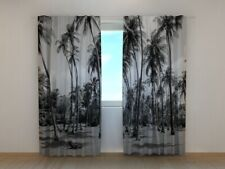Photo Curtain Printed Palm Trees in Black and White by Wellmira Made to Measure
