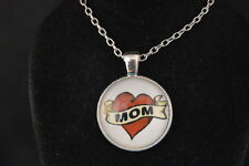 """""""MOM""""  Heart Tatoo Cabochon  PENDANT -  NECKLACE   New!  Jewelry  USA SELLER!!!"""