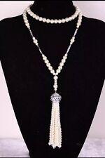 Art Deco Gran Gatsby 1920S Bola De Estrás Plateado Plata Collar De Perlas Borla
