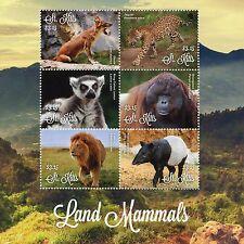 St Kitts 2016 Mnh Land Mammals Lions Tapirs Lemurs Jaguars Dhole 6v M/S Stamps