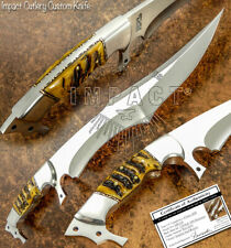 IMPACT CUTLERY RARE CUSTOM D2 FULL TANG BUSHCRAFT SHARK BOWIE KNIFE RRAM HORN