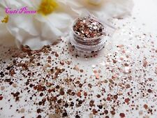 Nail Art Chunky *MocHa* Champagne Copper Golden Mix Hexagon Glitter Spangle Pot
