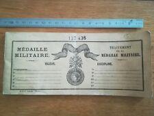 Carnet traitement médaille militaire suite à la 1ère Guerre 1914 1918 - 1935