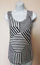 NEW Chicos Black White Stripe Sleeveless Stretch Top Size 2