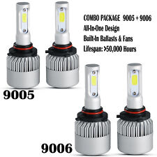 4 Bulb Kit 3900W 585000LM 9005 9006 6000K Combo CREE LED Headlight High Low Beam