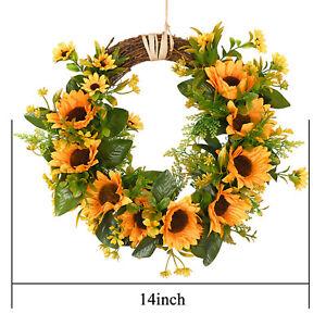 Artificial Sunflowers Flower Wreath Wall Window Door Hanging Wreath Party Decor