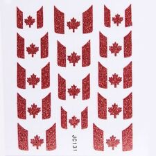 Nail Art Decal Stickers Glitter Nail Tips Canada Canadian Flag JC131