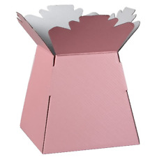 1 x FLOWER BOUQUET BOX GLOSSY COLOUR BABY PINK VASE TRANSPORTER