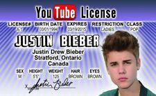 Justin Bieber fake ID i.d. card Drivers License