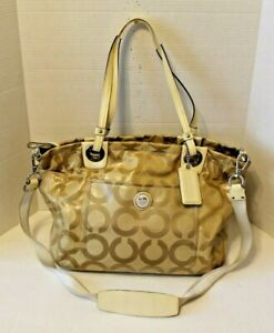 Coach Signature 14798 Alex Coated Op Art Baby Bag Weekender Tote Purse Crossbody