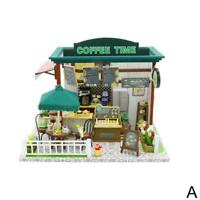 Doll House Miniature Diy Dollhouse With Furnitures Shop Time Coffee Wooden R2D2