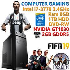PC COMPUTER DA GIOCO GAMING QUAD CORE i7-3770 RAM 8GB HDD 1TB NVIDIA GT1030 2GB