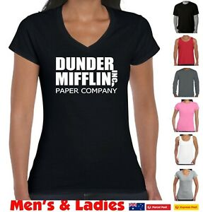 Funny T-Shirts Dunder Mifflin T-Shirt The Office Aussie Store Prints Ladies size