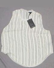NWT Who What Wear Womens Plus Size Chiffon Trim Woven Blouse White / Black 1X