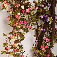 Wedding Party Silk Artificial Fake Rose Flower Vine Hanging Garland Home Decor
