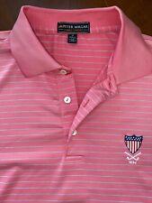 Peter Millar Summer Comfort Men's Size M Pink Micro-Striped Golf Shirt