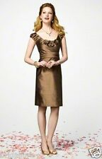 ALFRED ANGELO PURELY 7146 SILK DUPIONI LATTE 12 BRIDESMAID PARTY DRESS NEW CHIC
