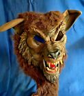 Vintage 1990s Deluxe Wolf Werewolf Full Overhead Mask w/Teeth Faux Fur Halloween