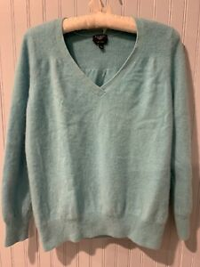 TALBOTS Petits Blue PURE CASHMERE V-neck Pull Over Shirt/sweater Sz XLP~~~D2