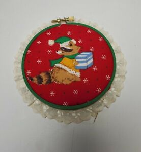 Handmade Christmas Red Quilted Hoop Wall Art with Racoon with Present Vintage