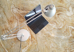 """Modern Silver DESK LAMP - Rotates 360, Heavy base, Arm extends 36"""", UL listed"""