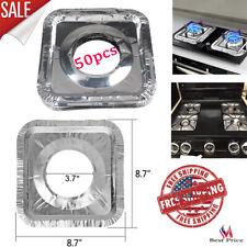 Aluminum Foil Gas Stove Burner Liners Covers Disposable Squar 50pcs Keep Clean