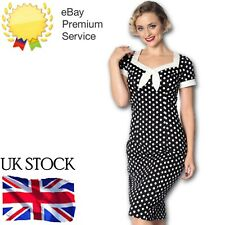 Banned Apparel Vintage Retro Bow Square Neck 60s Polka Dot Pencil Wiggle Dress