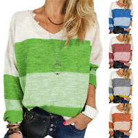 Womens Plus Size Long Sleeve Colorblock Loose Blouse Pullover Casual Jumper Tops