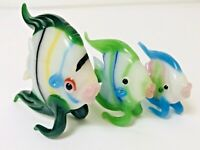 SET OF 3 KISSING FISH MINIATURE HAND BLOWN Art GLASS  FIGURINE 1c