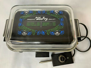 Vintage Presto Wee Fry Electric Skillet With Clear Glass Lid Cord Works