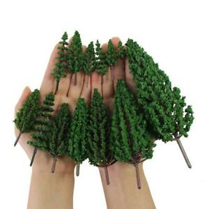 Model Pine Trees Green Plastic For Forest O HO TT N Scale Model Railway