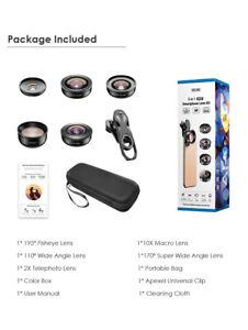 APEXEL 4K Lens Kit 5 in 1 Camera Portrait Wide Macro Lens Super Fisheye Lens