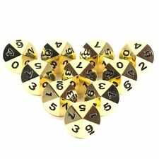 Solid Metal 10 d10 Polyhedral Dice Set Polished Gold D&D New! 10d10 Full Size