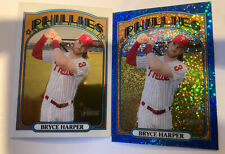 2021 Topps Heritage #13 Bryce Harper Blue Sparkle and Chrome #7/999