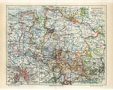 1895 GERMANY HANNOVER CITY STATE LAND Antique Map