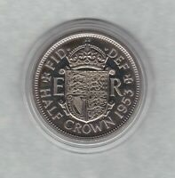 PROOF 1953 ELIZABETH II HALF CROWN IN MINT CONDITION WITH A CAPSULE